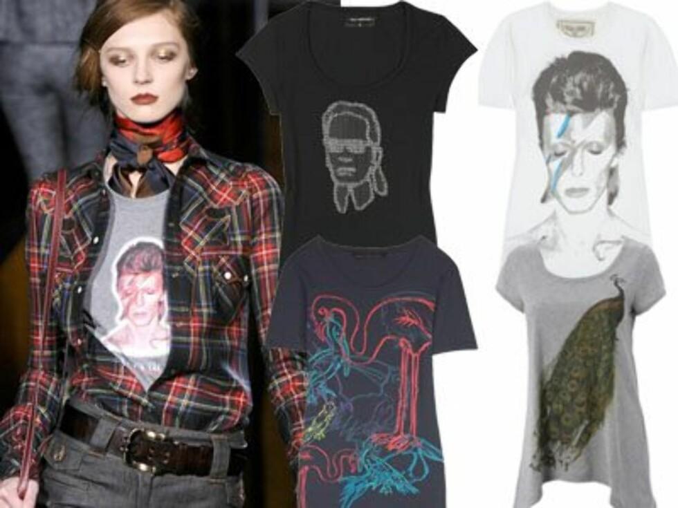 ROCKA T-SKJORTER PÅ CATWALKEN: Designere som Dolce & Gabbana (bildet) har trøyer med trykk av David Bowies Aladdin Sane-albumcover fra 1973 i sin høstkolleksjon. For informasjon om de øvrige t-skjortene på bildet - sjekk ut bildespesialen nederst i saken.  Foto: All Over Press
