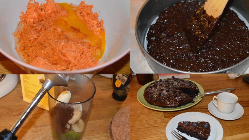 <strong>SØTPOTET-KAKE:</strong> I denne sjokoladekaken var det verken sjokolade, sukker eller smør. Raspet søtpotet ble blandet med egg, olje, sukrin og kakao. Glasuren besto av banan, avocado, kakao og honning.  Foto: Lina Hekkli/KK
