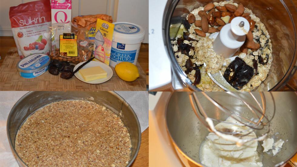 <strong>OSTEKAKE MED DADLER:</strong> Bunnen på ostekaken ble søtet av dadler, mens kremen besto av melk, yoghurt og litt kremost.  Foto: Lina Hekkli/KK