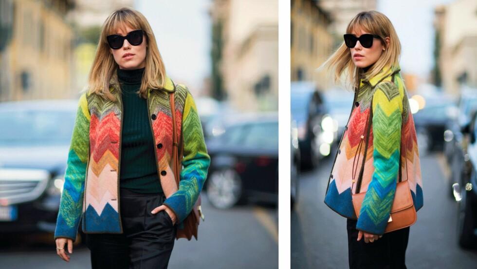 BRUK MØNSTER: Sterke farger og lekre mønster, som på denne jakken, er noe vi absolutt bør gå for nå! Annabel Rosendahl viser deg dagens bloggstil. Foto: Annabelrosendahl.com