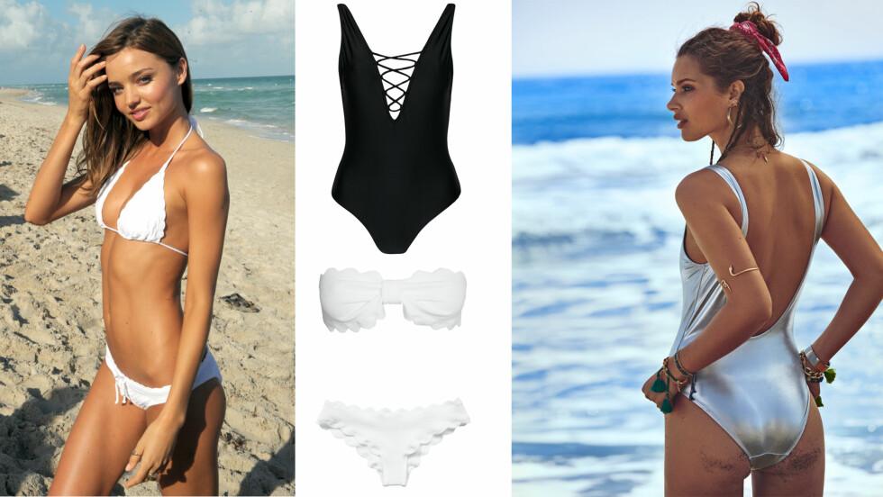 BADEDRAKT OG BIKINI: Miranda Kerr rocker en hvit enkel bikini på stranden, og vår covermodell Lise Olsen rocker sigøyner-stilen som er så hot akkurat nå. Foto: All Over Press og Truls Qvale