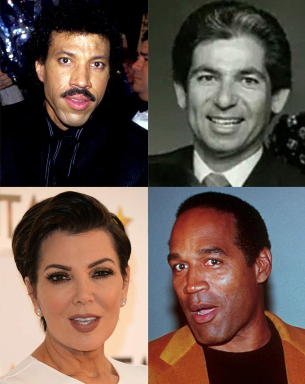 KRIS' MANGE MENN: Ryktene vil ha det til at både artist Lionel Richie (øverst til venstre) og den tidligere fotballspilleren O.J. Simpson (nederst til høyre) er Khloe Kardashians far - og ikke Robert Kardashian (øverst til høyre), som var gift med Kris Jenner i perioden 1978–1991.  Foto: NTB Scanpix