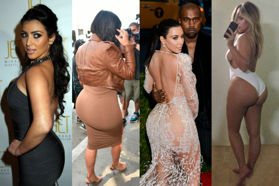 NÅR ENDEN ER GOD... : Kim Kardashian har alltid hatt en smekker bakende, men over de siste årene har rumpen hennes blitt betydelig mer formfull. Kim har aldri kommentert offentlig hvorvidt hun har gjort noe med bakenden eller ikke - men ifølge eksperter skal hun ha fått injisert såkalte «fillers». Bildet til høyre er fra 2007. De to i midten er tatt i år, mens selfien er fra 2013. Foto: NTB Scanpix / Skjermdump Twitter