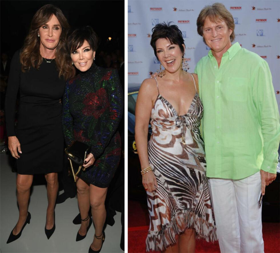 FORANDRING FRYDER: Mye har skjedd siden ekteparet Kris og Bruce' glansdager. Kris Jenner og Bruce Jenner giftet seg i 1991, og skilsmissen ble offisiell tidligere i år. I år ble det også kjent at Bruce Jenner hadde gått gjennom en kjønnsbevarende operasjon - og skiftet navn til Caitlyn Jenner. Bildet til høyre er tatt i 2005. Foto: NTB Scanpix