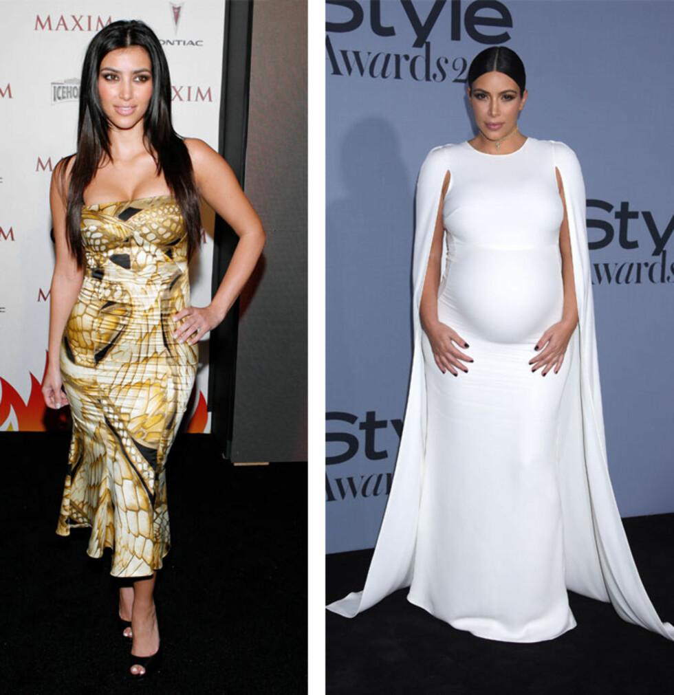 FØR OG NÅ: Det er ingen tvil om at Kim Kardashians klesstil er blitt mer elegant og sofistikert etter at Kanye West kom på banen. Bildet til venstre er tatt i 2007, mens det til høyre ble tatt i slutten av oktober. Foto: NTB Scanpix
