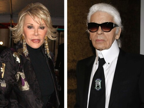 <strong>KRITISERTE ADELE:</strong> Joan Rivers (t.v.) og Karl Lagerfeld (t.h.) har tidligere sagt til pressen at Adele er for tykk. Foto: Scanpix