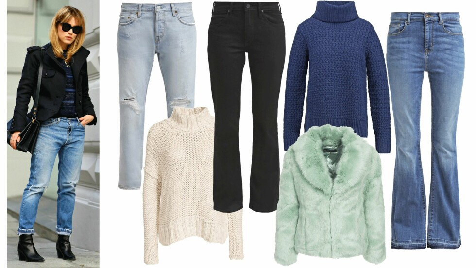 TRENDPLAGG PÅ SALG: Slengbuksen, boyfriend jeans, strikkagenseren og fuskepelsen er plagg som virkelig har tatt sin plass i garderoben vår. Nede i saken har vi latt oss inspirere av bloggerne våre og funnet disse trendplaggene til deg - på salg! Foto: Annabelrosendahl.com, Nelly.com, Zalando.no, Produsentene