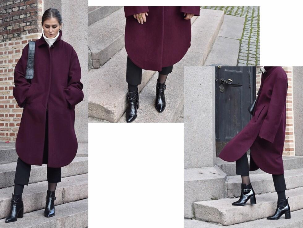 KÅPE I BURGUNDER: Denne kåpen har Darja Barannik falt for - og vi forstår hvorfor! Legg merke til den kule formen, den herlige fargen og de spennende detaljene i snittet. Foto: Darjabarannik.com