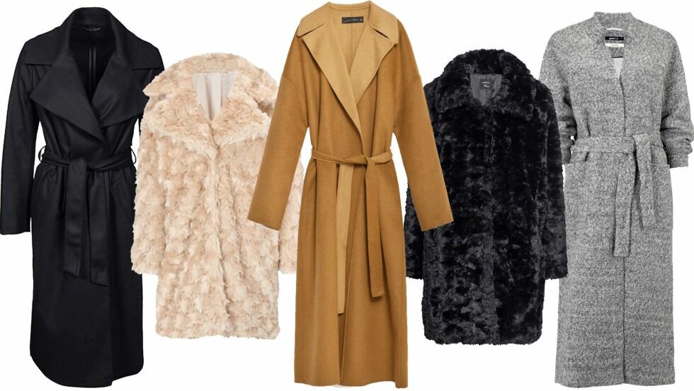 ELEGANTE KÅPER: Priser på disse lekre kåpene finner du lengre ned i saken. Foto: Produsentene, Nelly.com