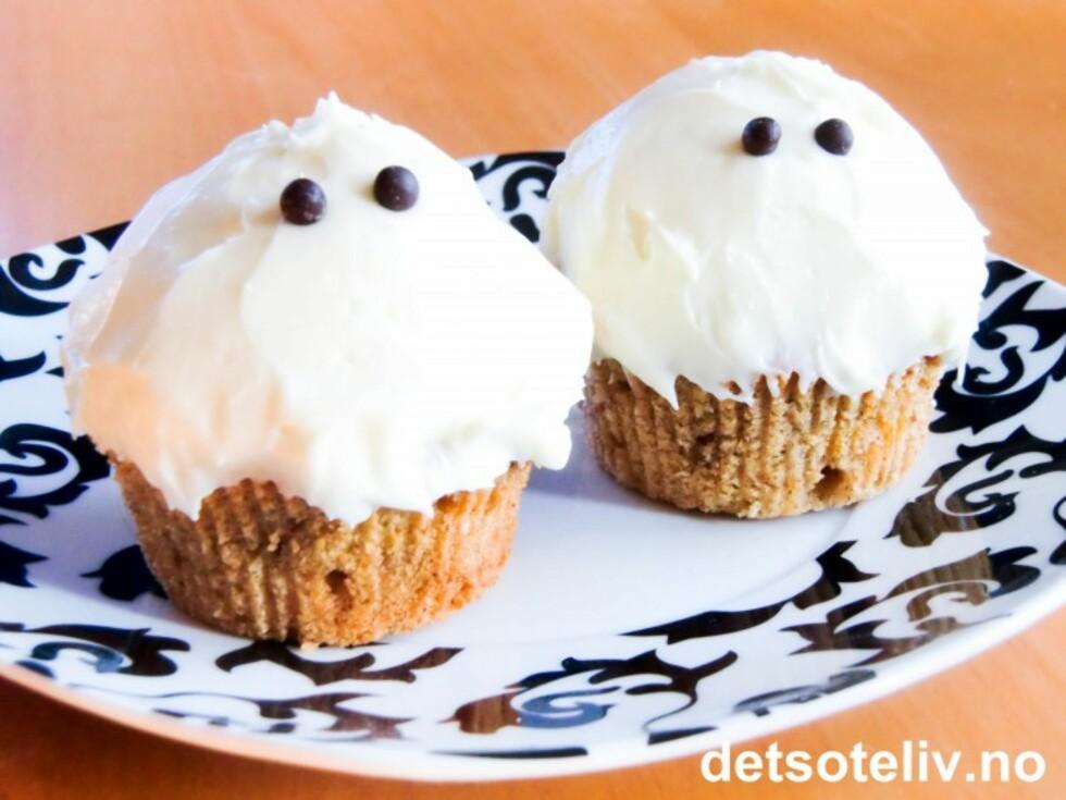 SPOOKY CUPCAKES: Kristine Ilstad liker å lage disse til Halloween da de har et søtt og uskyldig utseende.  Foto: Kristine Ilstad