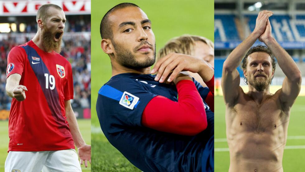 KJEKKASER: KK.no har plukket ut de 11 kjekkeste norske fotballspillerne. Hvem er din favoritt? Stem nederst i saken! Her er tre av dem: Jo Inge Berget, Haitam Aleesami og Daniel Berg Hestad. Foto: NTB Scanpix