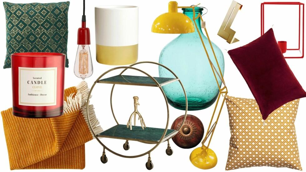 <strong>FARGER TIL HJEMMET:</strong> Fargeekspert gir tips til hvordan du kan fornye hjemmet ditt med spreke farger. Hvor diverse pyntegjenstander er fra, kan du lese lenger ned i saken. Foto: Produsentene