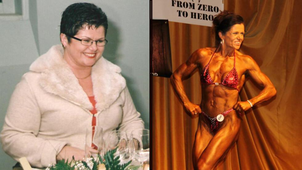 EKSTREM FORVANDLING: Da badevekten viste 104 kilo skjønte Wenche Berger at noe måtte gjøres. I dag er hun nesten ikke til å kjenne igjen som profesjonell bodybuilder.  Foto: Privat/Tom Lorang Nilgard