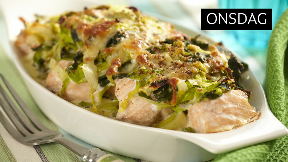 <strong>OVNSBAKT LAKS:</strong> Et sunt og godt måltid som faller i smak hos hele familien.  Foto: All Over Press