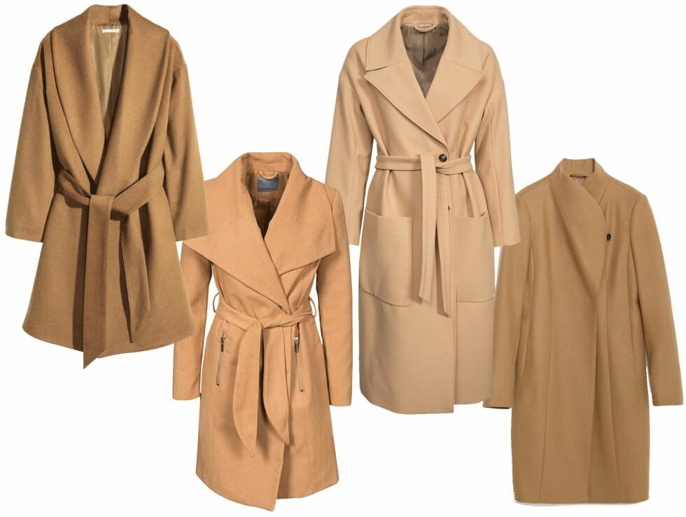 KLE DEG I KAMELKÅPE: Det er ingen fasit på hvordan den perfekte kåpen skal se ut. Snittene og fargene varierer i stor grad. Det er derfor viktig er at du finner en variant som passer din stil og kropp.  SHOP KÅPENE (fra venstre): H&M, kr 799. Vero Moda, kr 599. J. Lindeberg, kr 3995. Zara, kr 1159. Foto: Nelly.com og produsentene