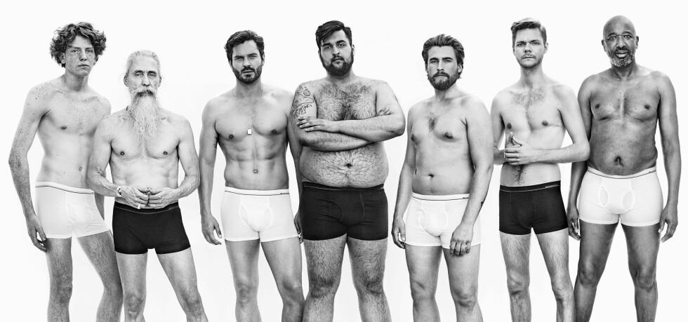 KAMPANJE: Kleskjeden Dressmann ønsker å vise et nyansert bilde av mannekroppen i sin ferske undertøyskampanje. Ifølge presseansvarlig Jens Bonesmo har de fått gode tilbakemeldinger fra kunder på kampanjen. Foto: Dressmann