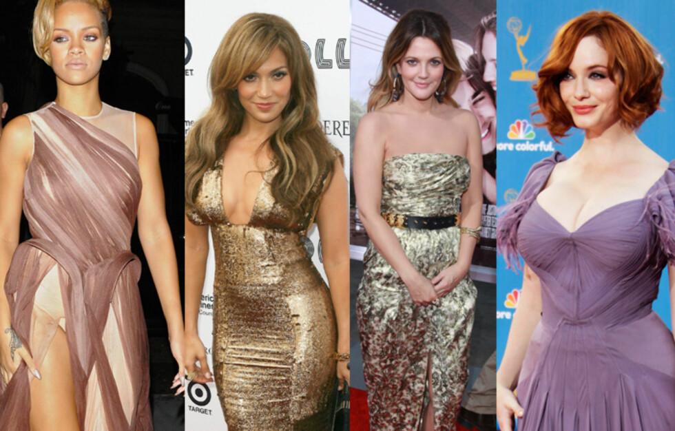 FINE FORBILDER: Skjønnhetene Rihanna, Jennifer Lopez, Drew Barrymore og Christina Hendricks er alle med på å bidra til at former er representert i den knallharde Hollywood-bransjen. Foto: NTB Scanpix