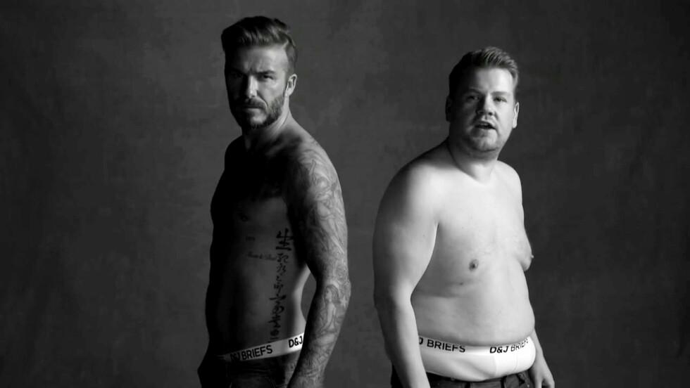 HUMORPOENG: Den tidligere fotballspilleren David Beckham har en kropp mange misunner ham, og blir ofte brukt som modell i diverse reklamekampanjer - i april gjorde komiker James Corden et humorpoeng ut av undertøysreklamene Beckham har figurert i, under sitt talkshow Late Late Show. Foto: NTB Scanpix