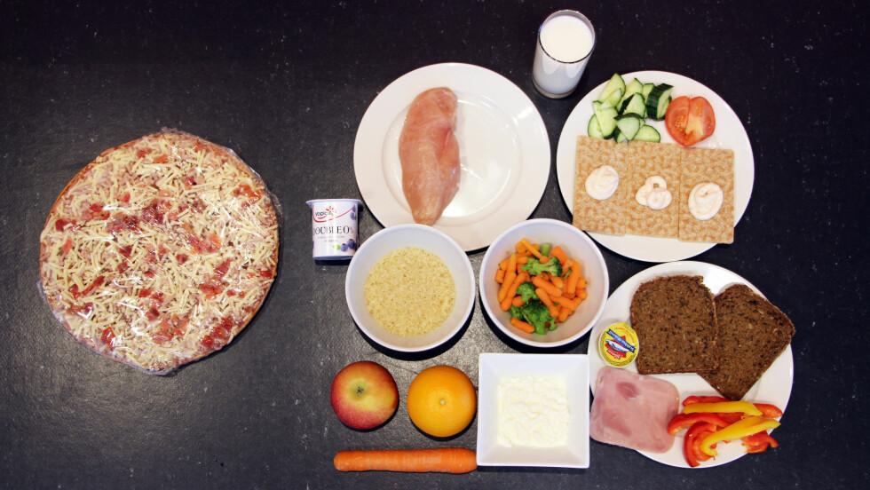 EN GRANDIOSA TILSVARER: På bildet ser du hvor mye mat du kan spise istedet for en Grandiosa.  Foto: Ronja Rognmo