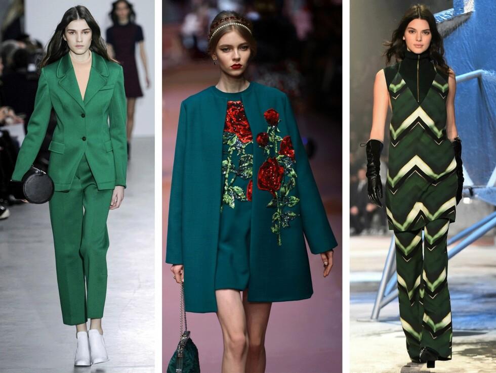 <strong>GRØNT:</strong> (f.v.) Cedric Charlier, Dolce & Gabbana og H&M. Foto: Scanpix