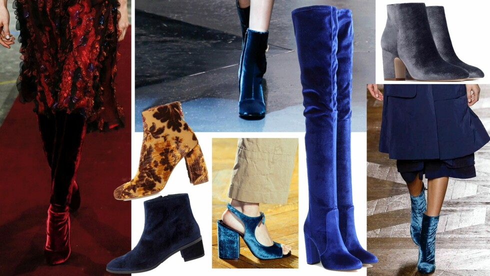 FLØYELSSKO: Givenchy, Roberto Cavalli og Dries Van Noten viste alle disse trendskoene på catwalken under visningene for høst/vinter 2015. Foto: Scanpix, Produsentene, Neiman Marcus, Mytheresa,