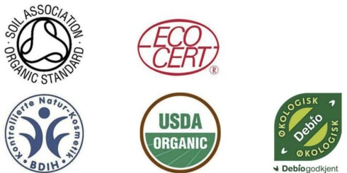 ØKOLOGISK MERKING: Se etter disse merkene hvis du ønsker å kjøpe økologisk makeup. Foto: Green Sprit