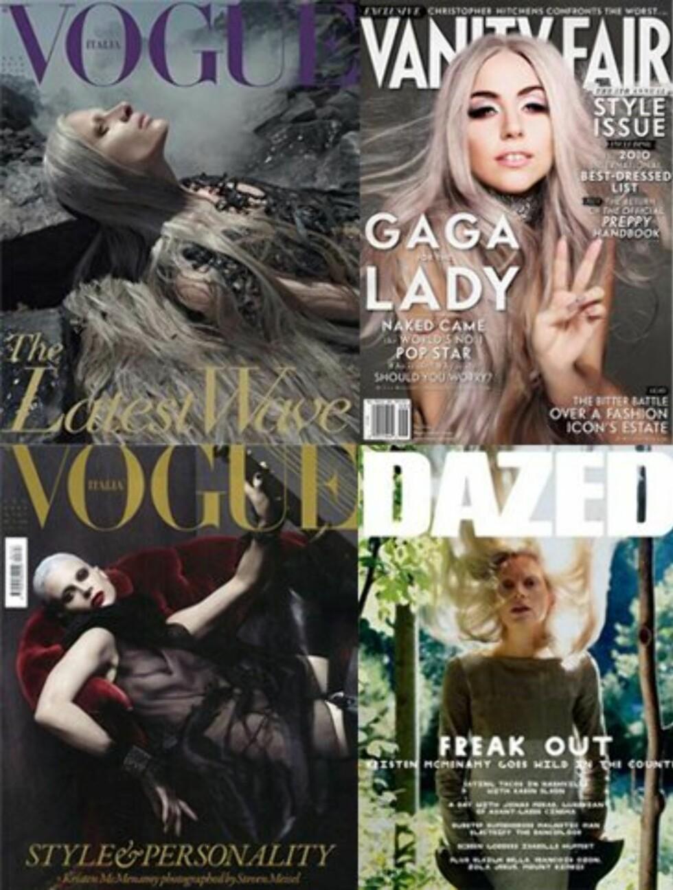 PÅ COVER MED GRÅTT HÅR: Supermodell Kristen McMenamy (t.v) og Lady Gaga på cover av ulike magasiner med grått hår.  Foto: Faksimile Vogue/Dazed