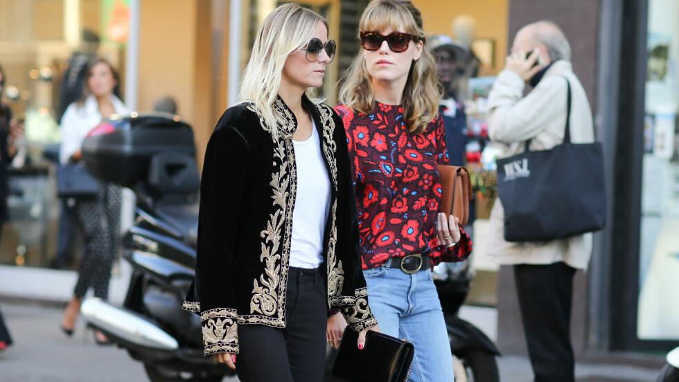 MILANO: De norske bloggerne Annabel Rosendahl og Celine Aagaard har ved flere anledninger blitt knipset av fotografene under moteukene. Foto: Abaca