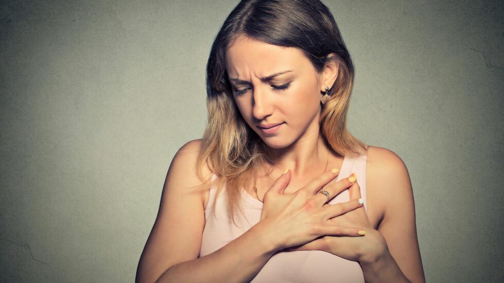 <strong>BRYSTSMERTER:</strong> Det er ikke bare problemer med hjertet som kan føre til at man føler ubehag og smerter i brystregionen. Noen ganger kan det skyldes noe så uskyldig som angst. Foto: pathdoc - Fotolia