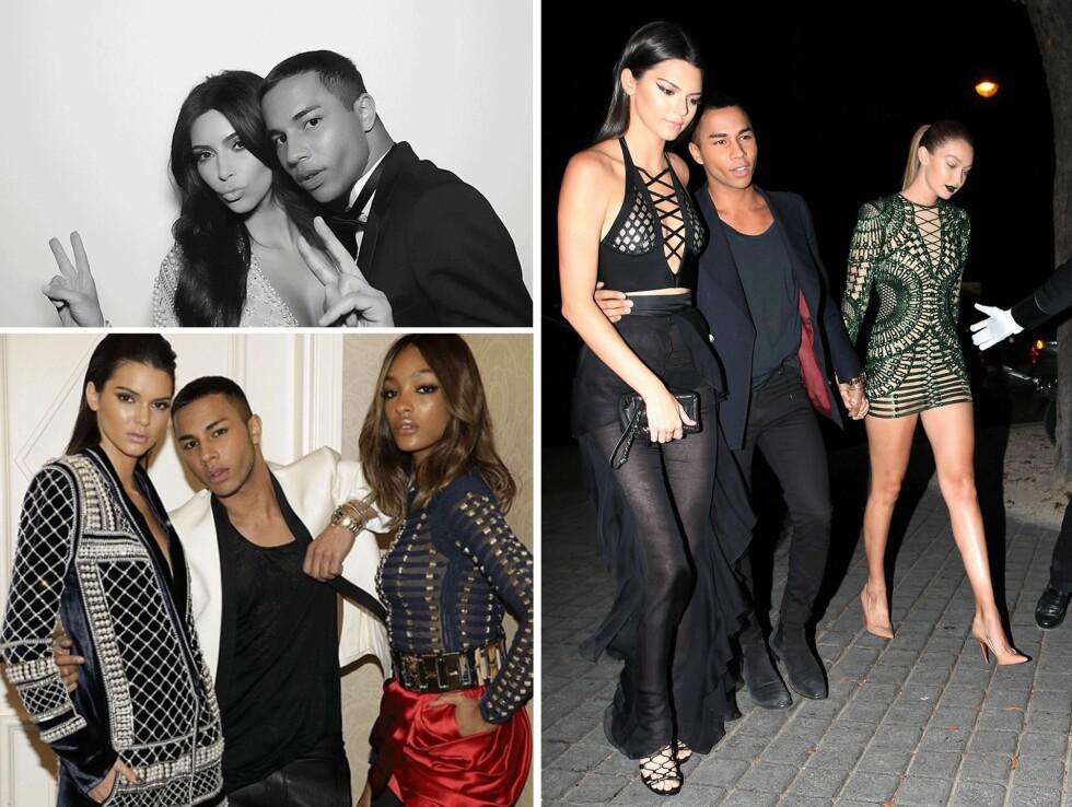 BALMAIN OG H&M: Designer Olivier Rousteing er god venn med Kim Kardashian (34) og har i sin nye kampanje for H&M fått med seg modellene Kendall Jenner (19), Gigi Hadid (20) og Jourdan Dunn (25). Foto: Scanpix