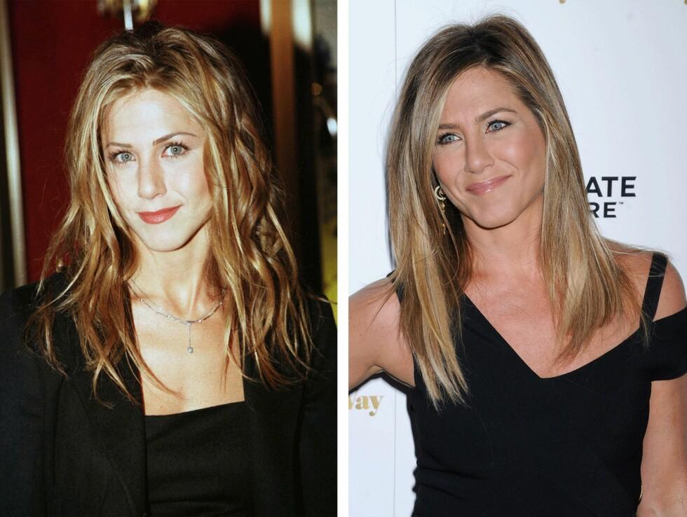 <strong>1998 OG 2015:</strong> 17 år skiller disse bildene av Jennifer Aniston (46). Foto: Scanpix
