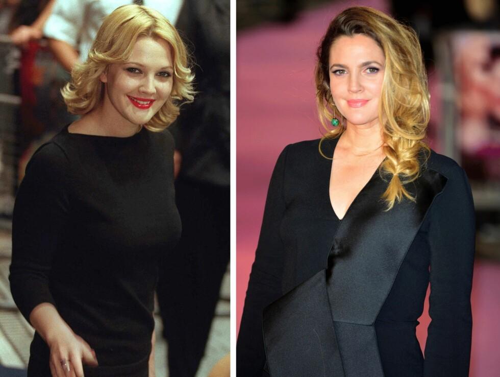 <strong>1998 OG 2015:</strong> 17 år skiller disse bildene av Drew Barrymore (40). Foto: Scanpix
