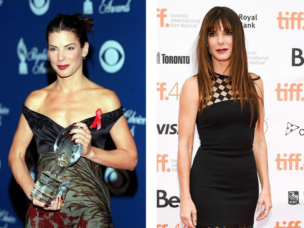 <strong>1998 og 2015:</strong> 17 år skiller disse bildene av Sandra Bullock (51). Foto: Scanpix