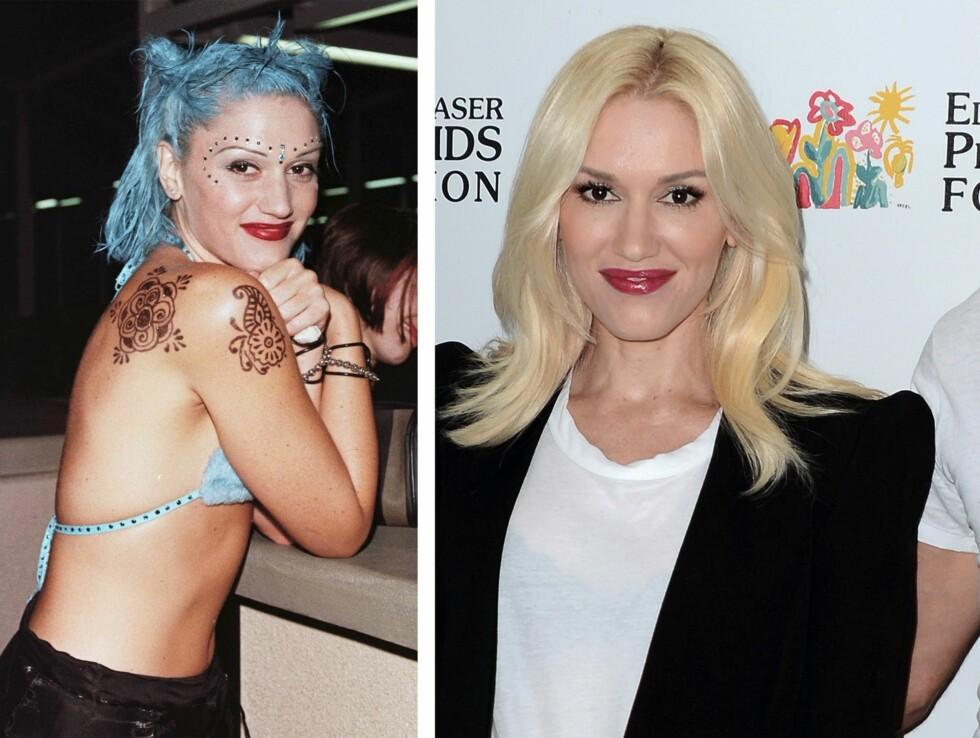 <strong>1998 OG 2015:</strong> 17 år skiller disse bildene av Gwen Stefani (45). Foto: Scanpix