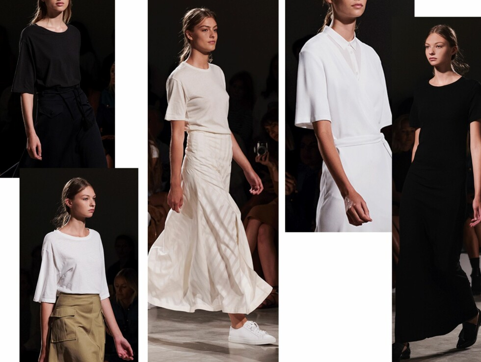 FILIPPA K: T-skjorten kom i ulike hvitfarger, klassisk khaki og sort.  Foto: Stockholm Fashion Week