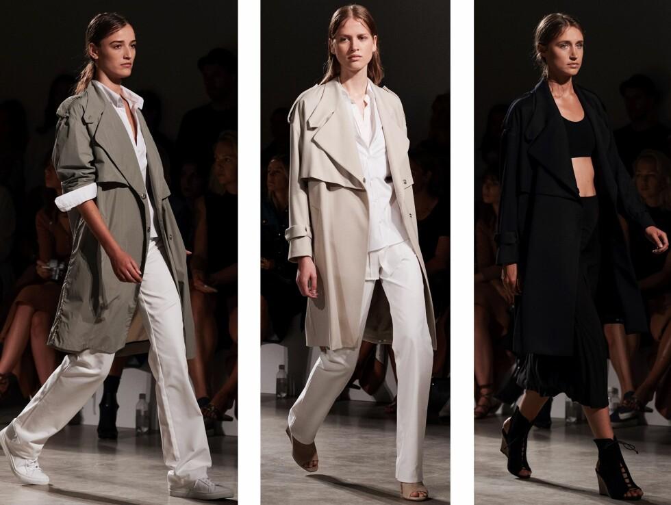 FILIPPA  K: Trenchkåpen ble presentert fra et elegant og feminint utrykk til det mer sporty og avslappede. Fargene varierte fra militærgrønn, sorbetrose og sort.  Foto: Stockholm Fashion Week