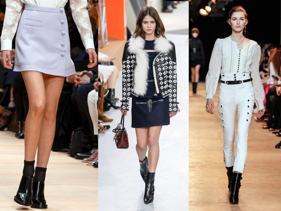 <strong>LA DEG INSPIRERE:</strong> Carven har sokker i støvlettene, mens Louis Vuitton går for en 60-talls inspirert look og Isabel Marant sverger til bluser med kniplinger og bukser med høyt liv.  Foto: Scanpix.
