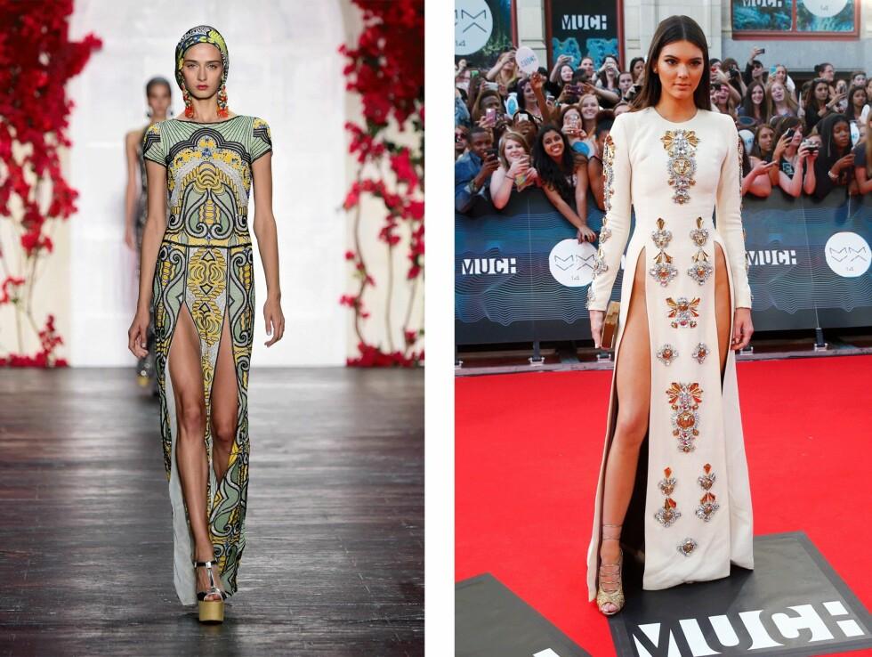 SVÆRT LIKE: Flere ble forbauset da Kendall Jenner (19) møtte opp i denne kjolen på MuchMusic Awards. Kreasjonen til venstre er fra Naeem Khan og er slående lik Jenners kjole. Foto: Scanpix