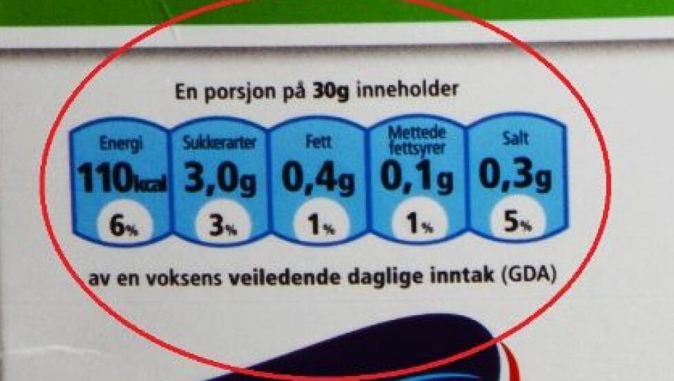 30 GRAM: Ifølge eksperten skriver produsentene at en porsjon er 30 gram for at det skal ut som om én porsjon av produktene gir lite kalorier og sukker.  Foto: VG