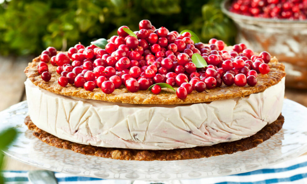 TYTTEBÆRKAKER MED HAVREBUNNER: Kaken er laget av sprø havrebunner med en frisk og delikat tyttebærparfait mellom lagene. Foto: Anette Nilsson