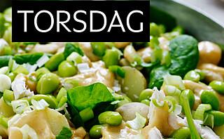 Potetsalat med kylling og peanøtt-chilidressing