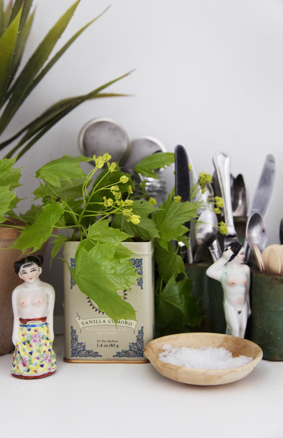 På kjøkkenbenken står bestikk i krukker – kjøkkenet har nemlig ingen skuffer – urter i en teboks og små kinesiske skulpturer kjøpt på marked i Beijing. – Jeg er utrolig glad i de kinesiske damene mine, jeg bruker dem som borddekorasjon, sier Tone.  Foto: Yvonne Wilhelmsen