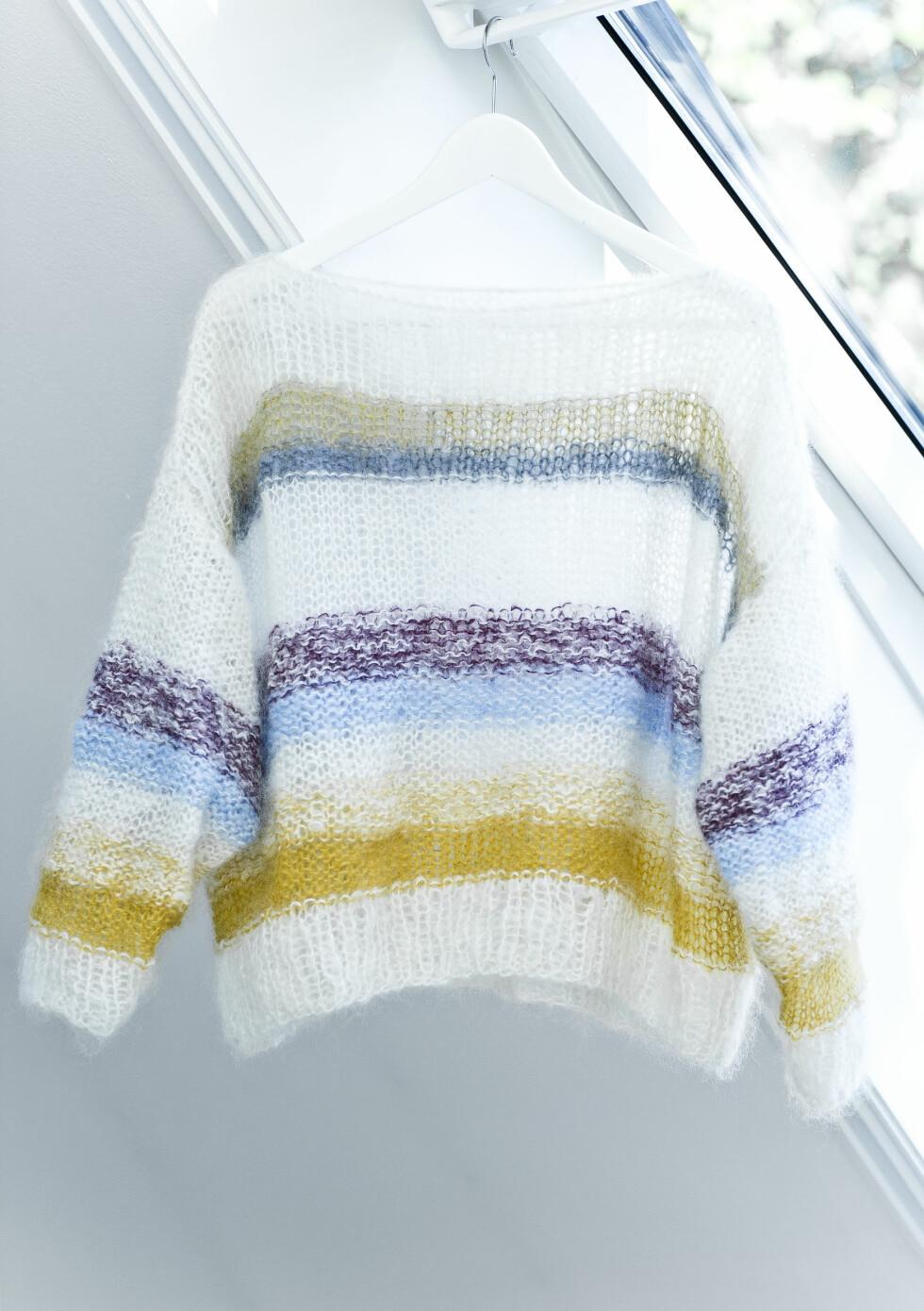 LINE LANGMO-GENSEREN: Denne kreasjonen skapte blest på Instagram i sommer «alle» vil ha en lignende genser.  Foto: Astrid Waller
