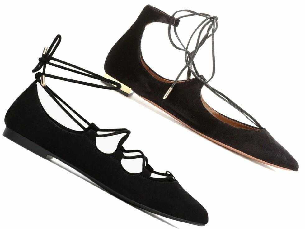 BILLIG VS DYR: Sandalen til venstre er fra Zara og koster kr 399. Sandalen til høyre er fra Aquazzura via Mytheresa.com og koster kr 3796. Foto: Produsenten, mytheresa.com