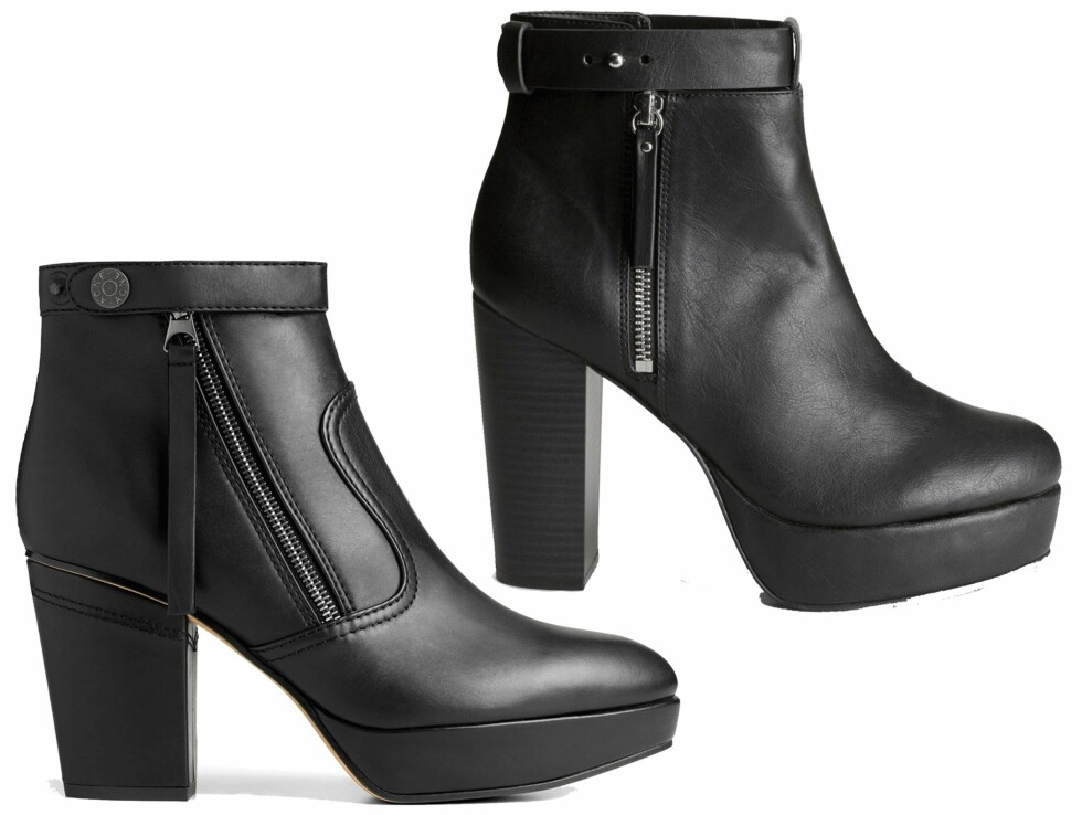 BILLIG VS DYR: Skoen til venstre er fra Acne Studios og koster kroner 3495. Skoen til høyre er fra H&M og koster kroner 399. Foto: Produsentene