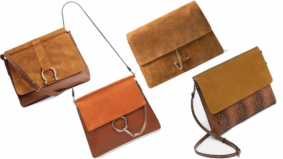CHLOE-INSPIRERT: Veskene fra H&M, Mango og Zara minner svært mye om trendvesken Faye fra Chloe. Foto: Produsenten