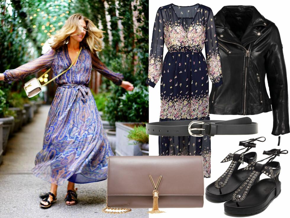STJEL STILEN: Bli inspirert til hvordan du kan style en lekker, florlett kjole med lange ermer.  Foto: TONEDAMLI.COM
