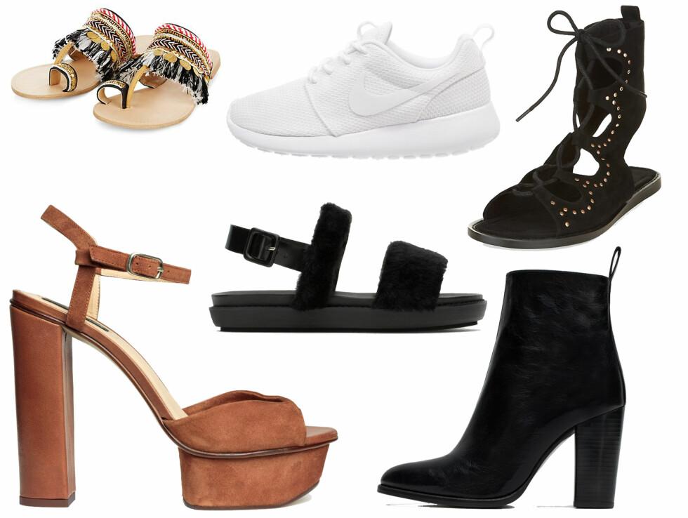 SKO TIL ALLE ANLEDNINGER: Bruk et par sandaler hvis være godtar det, ellers kan det være like så fint med et par sneakers til et pyntet antrekk. Et par ankelstøvletter er både pyntet og avslappet og et par høye hæler er fint om du skal på fest.  Foto: Produsentene.