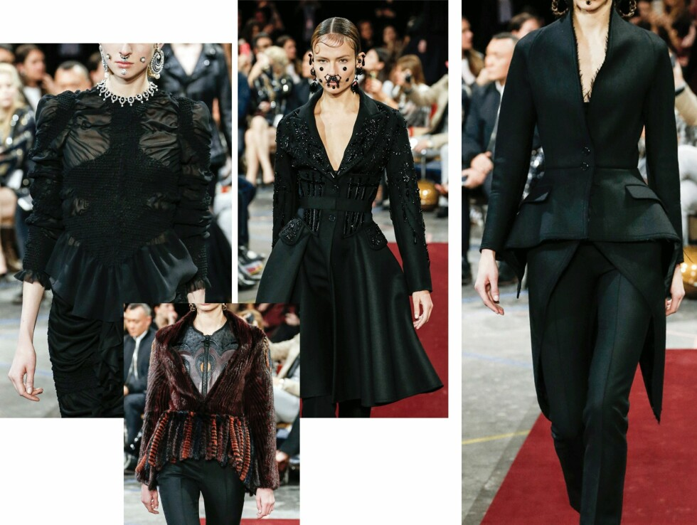 HELSVART: I høst skal du gjøre som Givenchy viste på catwalken og kle deg i sort fra topp til tå.  Foto: Scanpix