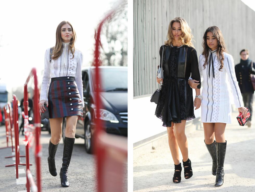 KLEDD I LOUIS VUITTON: Fashionistaene ankom Louis Vuitton sin visning i februar, ikledd kjoler og bluse med det tynne silkebåndet i halsen. Foto: Scanpix.